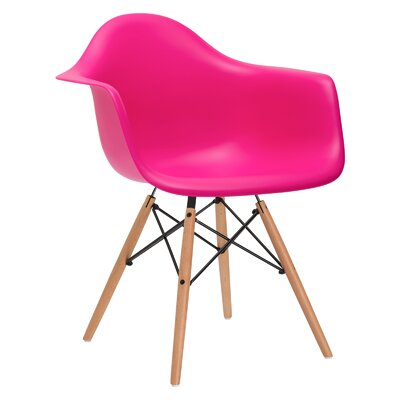 Quintus Armer Arm Chair Upholstery: Fuchsia, Leg Finish: Walnut