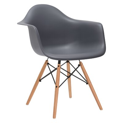 Quintus Solid Wood Dining Chair Upholstery: Gray, Leg Finish: Walnut