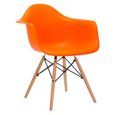 Quintus Solid Wood Dining Chair Upholstery: Orange, Leg Finish: Walnut