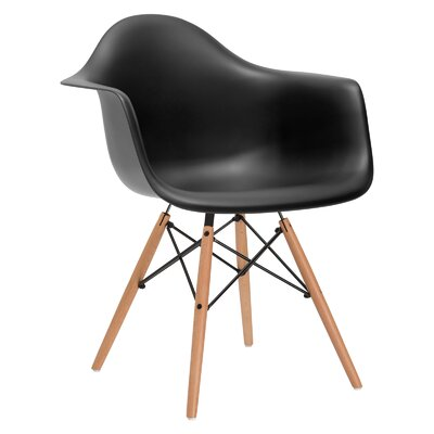 Quintus Dininger Solid Wood Dining Chair Upholstery: Black, Leg Finish: Walnut