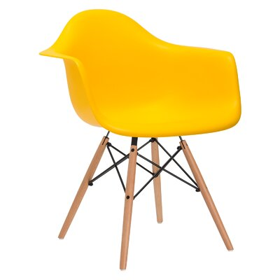 Quintus Dininger Solid Wood Dining Chair Upholstery: Yellow, Leg Finish: Walnut