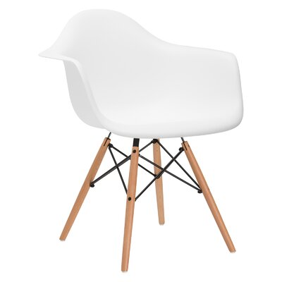 Quintus Dininger Solid Wood Dining Chair Upholstery: White, Leg Finish: Walnut