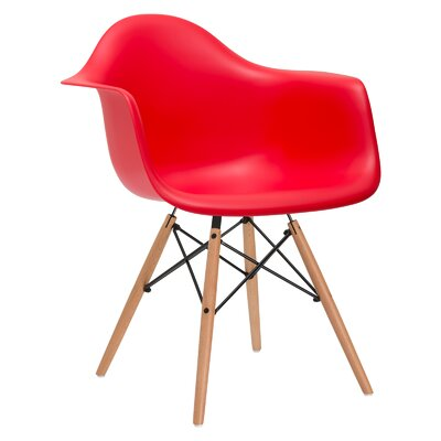 Quintus Armer Arm Chair Upholstery: Red, Leg Finish: Natural