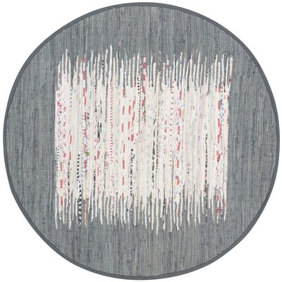 Jameson Contemporary Hand-Woven Ivory/Gray Area Rug Rug Size: Round 4