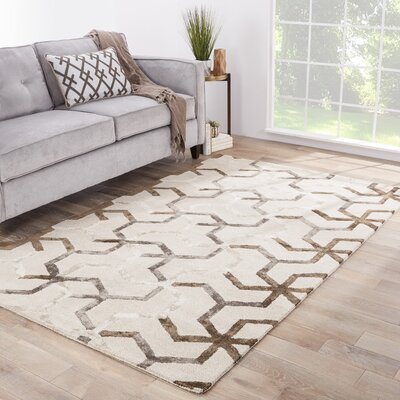 Villafane Ivory/Gray Area Rug Rug Size: Rectangle 36 x 56