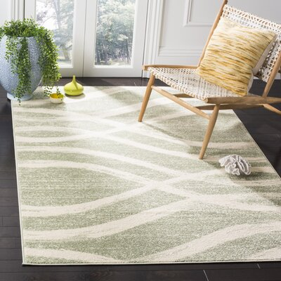 Graciano Beige/Green Area Rug Rug Size: Round 4