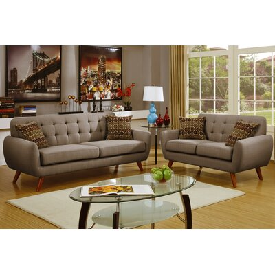 Wooten 2 Piece Sofa and Loveseat Set Upholstery: Gray