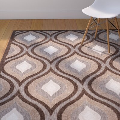 Candor Light Brown/Dark Brown Area Rug Rug Size: Rectangle 67 x 96