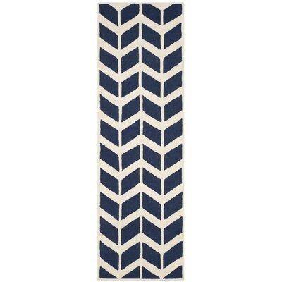 Esperance Navy / Ivory Area Rug Rug Size: Runner 26 x 8