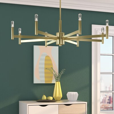 Gavin 8-Light Candle-Style Chandelier Finish: Natural Brass