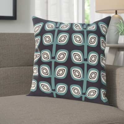 Youman Leaf Tree Geometric Print OutdoorThrow Pillow Color: Navy, Size: 20 H x 20 W