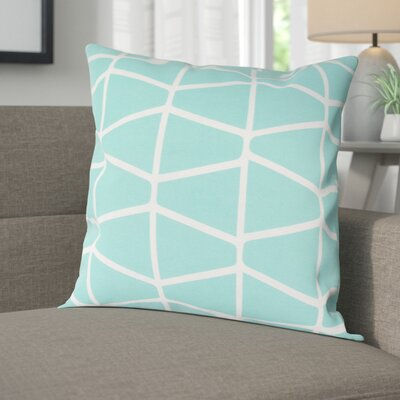 Halverson 100% Cotton Pillow Cover Size: 18 H x 18 W x 1 D, Color: MintWhite