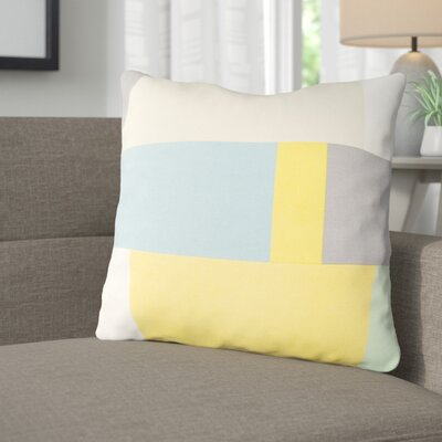 Aberdene Patchwork Cotton Throw Pillow Size: 18 H x 18 W x 4 D, Color: Beige / Sky Blue / Gray / Saffron