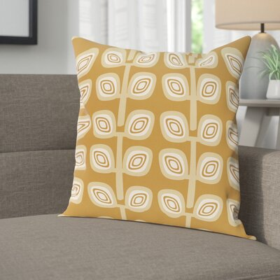 Youman Leaf Tree Geometric Print OutdoorThrow Pillow Size: 18 H x 18 W, Color: Gold
