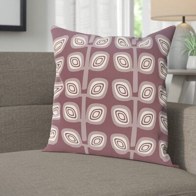 Youman Leaf Tree Geometric Print OutdoorThrow Pillow Size: 18 H x 18 W, Color: Purple