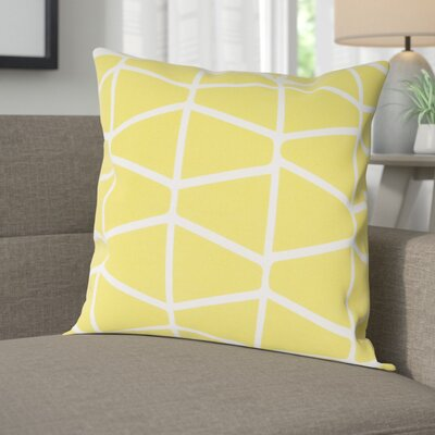 Halverson 100% Cotton Pillow Cover Size: 18 H x 18 W x 1 D, Color: YellowNeutral