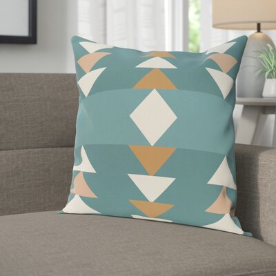 Blick Geometric Print Outdoor Throw Pillow Size: 18 H x 18 W, Color: Aqua