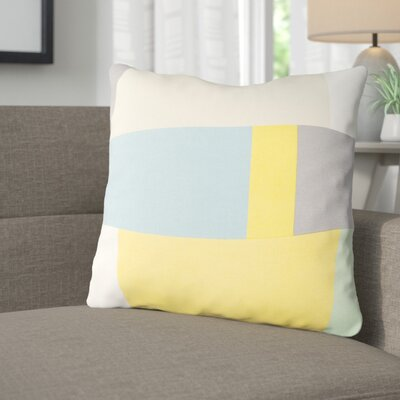 Aberdene Cotton Throw Pillow Size: 18 H x 18 W x 4 D, Color: Beige / Sky Blue / Gray / Saffron