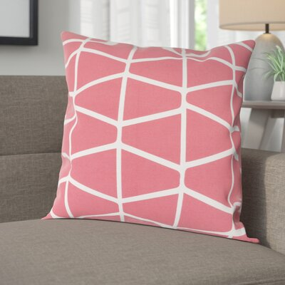 Halverson 100% Cotton Pillow Cover Size: 18 H x 18 W x 1 D, Color: PinkNeutral