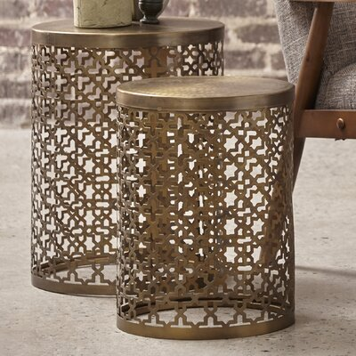 Doleman Round Perforated Metal 2 Piece Nesting Table