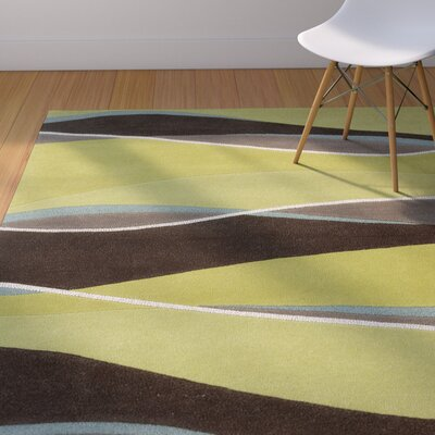 Cheston Lime/Mocha Area Rug Rug Size: 33 x 53