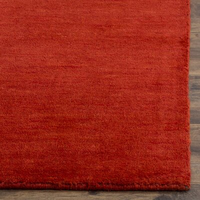 Aghancrossy Hand-Loomed Red Area Rug Rug Size: Square 6