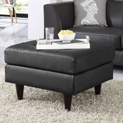 Warren Leather Ottoman Upholstery: Black