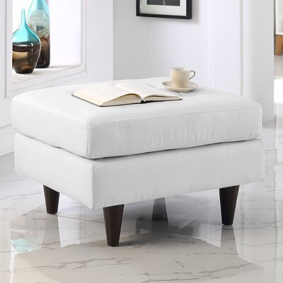 Warren Leather Ottoman Upholstery: White