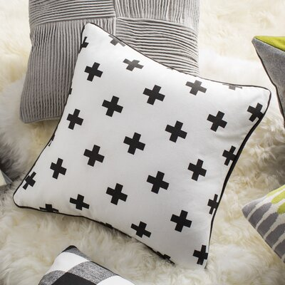 Antonia Cross Cotton Throw Pillow Cover Color: White/ Black