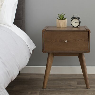 Leominster 1 Drawer Nightstand Finish: Walnut