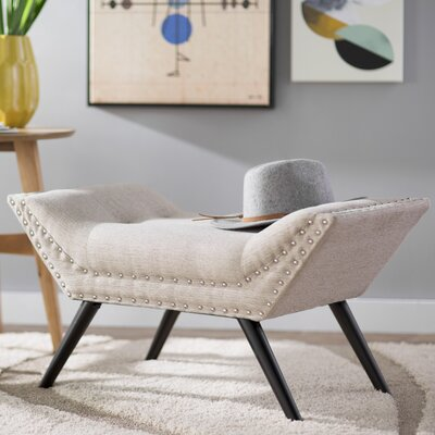 Coggin Upholstered Ottoman Upholstery: Almond