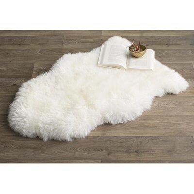 Allison Hand-Woven Faux Sheepskin White Area Rug Rug Size: Novelty 2 x 3