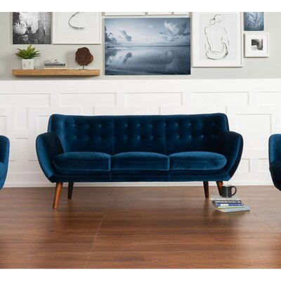 Martinique Tufted Sofa Upholstery: Navy