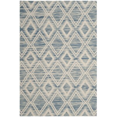 Alexandria Hand-Woven Dark blue/Ivory Area Rug Rug Size: Rectangle 4 x 6