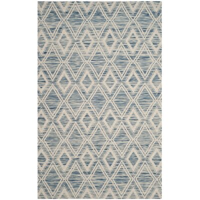 Alexandria Hand-Woven Dark blue/Ivory Area Rug Rug Size: Rectangle 5 x 8