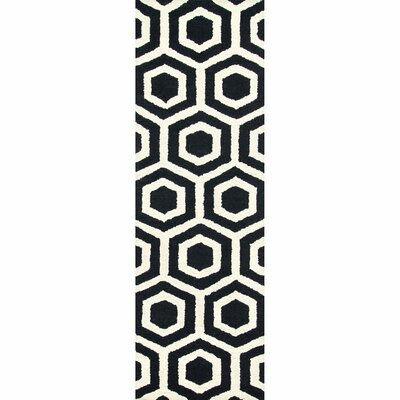 Corpus Christi Hand-Tufted Black Area Rug Rug Size: Runner 26 x 8