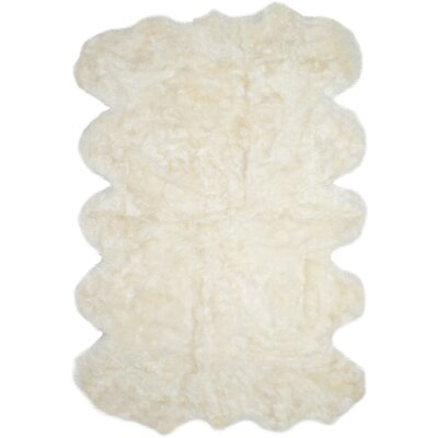 Allison Hand-Woven Faux Sheepskin White Area Rug Rug Size: Novelty 8 x 10