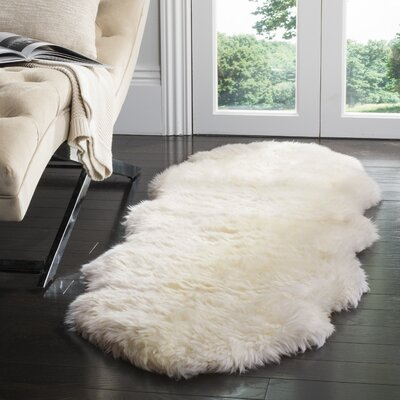 Allison Hand-Woven Faux Sheepskin White Area Rug Rug Size: Sheepskin 2 x 6