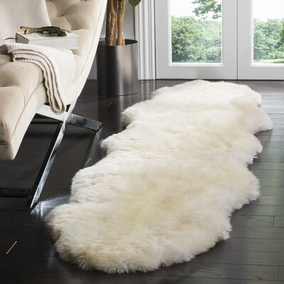 Allison Hand-Woven Faux Sheepskin White Area Rug Rug Size: Novelty 2 x 8