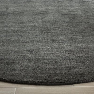 Aghancrossy Hand-Loomed Charcoal Area Rug Rug Size: Round 6