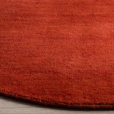 Aghancrossy Hand-Loomed Red Area Rug Rug Size: Round 6