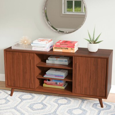 Silvia 54 TV Stand with Optional Fireplace Color: Mahogany Cherry, Fireplace Included: No