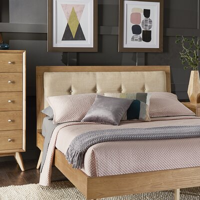 Angelo Tufted Linen Queen Upholstered Platform Bed