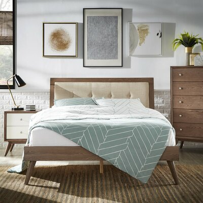 Beckham Queen Upholstered Platform Bed Color: Beige, Color (Frame): Light Oak