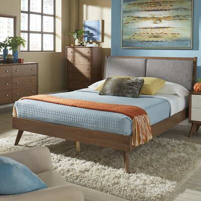 Beckham Queen Upholstered Platform Bed Color: Gray, Color (Frame): Light Oak