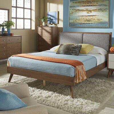 Beckham Queen Upholstered Platform Bed Color: Gray, Color (Frame): Dark Walnut