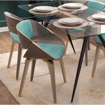 Edward Mid-Century Solid Wood Upholstered Dining Chair Upholstery Color: Aqua