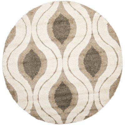 Fulton Cream/Smoke Gray Shag Area Rug Rug Size: Round 67