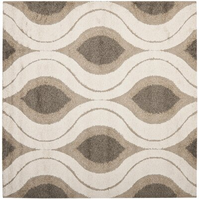 Fulton Cream/Smoke Shag Area Rug Rug Size: Square 67