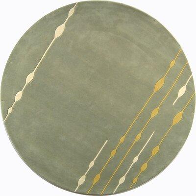 Bermondsey Hand-Tufted Light Green Area Rug Rug Size: Round 6